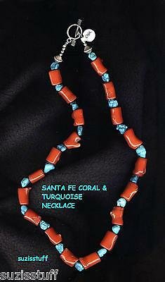 SOUTHWEST NECKLACE-SMALL BRANCH CORAL and TINY TURQUOISE NUGGETS-NAVAJO