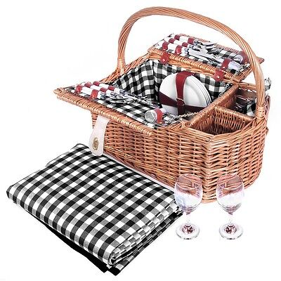 4 Person Picnic Basket Set W/ 2 Wine Compartments & Matching Blanket Brown