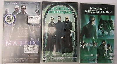 THE MATRIX TRILOGY-3  VHS's,THE MATRIX, MATRIX RELOADED, MATRIX REVOLUTIONS,