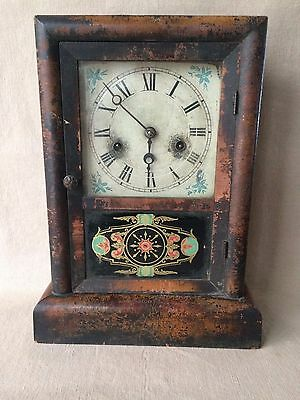 Antique JEROME & CO New Haven Mantel 'Cottage Extra' CLOCK  Pendulum & Key