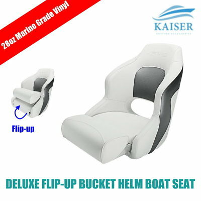Deluxe Flip-up Bolster Bucket Helm Sport Captains Chair Boat Seat White/Charcoal