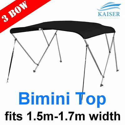 3 Bow 1.5m-1.7m Bimini Top Canopy Cover + Rear Poles & Sock Black