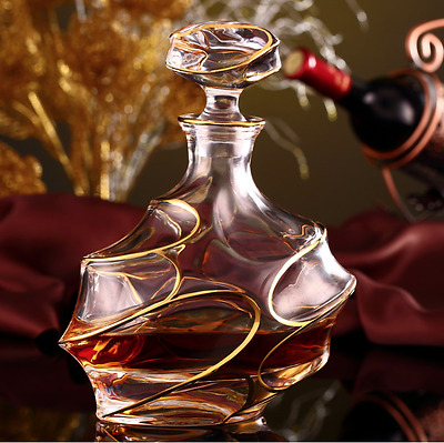 Whiskey Decanter Bottle Tumblers Unique Drinking Gift Gold  Lead-Free 750ml