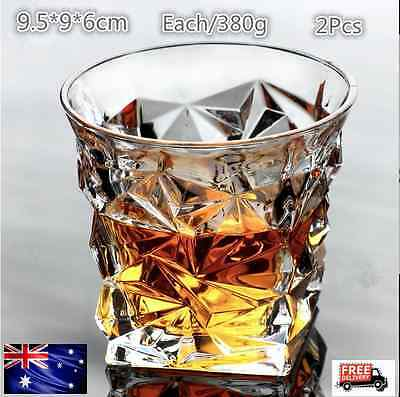 Whiskey Glasses Wine Glass Tumblers Unique Drinking 2 Piece Lead-Free AU