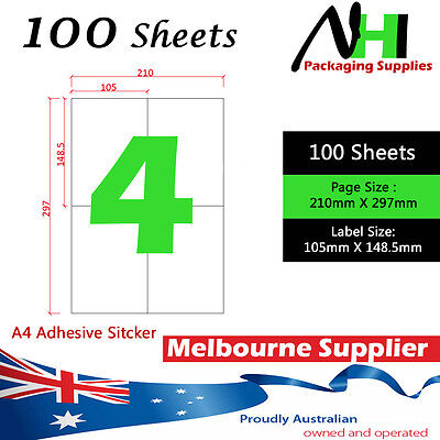 100 Sheets 10.5x14.8cm 4 Labels A4 Adhesive Sticker Shipping Label Laser Inkjet