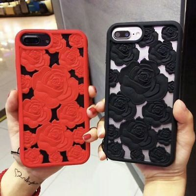 Noble 3D Hollow Roses Soft Silicone Phone Case Cover For iPhone 6 6s 7 8 X Plus