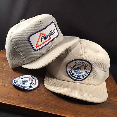 Vtg Corduroy Hat Lot (2) & Patch Puregro Pacific GUANO Snapback Insulated
