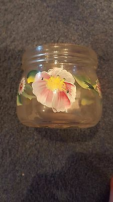 glass flower painted jar