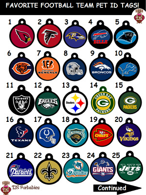 NFL-Football-Team-Dog-Cat-Pet-ID-Tag for Dog Collars ENGRAVED & SHIPS FREE!
