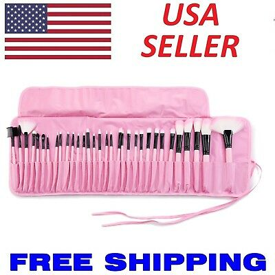 32pcs PINK Professional Soft Cosmetic Eyebrow Shadow Makeup Brush Set Pouch Bag