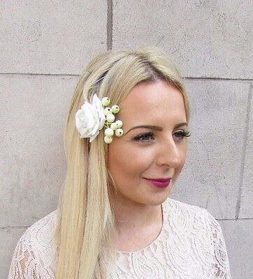 Ivory Cream Rose Berry Flower Hair Clip Fascinator Bridal Bridesmaid Vtg 3753