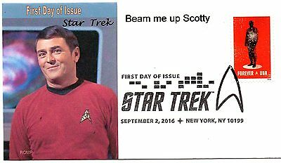 Star Trek,2016 stamp,FDC,Scotty,beam me up by ROMP cachets,first day of issue