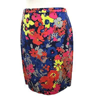 Ann Taylor LOFT Skirt 6 Floral Pattern Blue Pink Yellow Cotton Blend Career