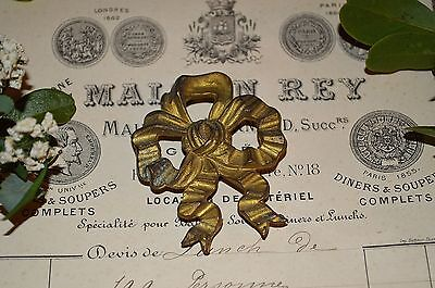 Antique French Bronze Ormolu Bow Picture Hook Cover Decoration