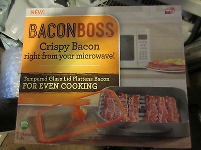 As Seen On Tv Bacon Boss Microwave Drip Pan Cooking Cooker Press Lid