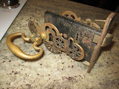 antique brass / bronze doorknobs, escutcheons and lock ORNATE
