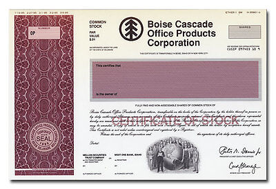 Boise Cascade Office Products Corp RARE American Bank Note Production Portfolio