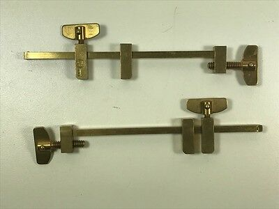 """Two Pairs (4) Brass Bar Clamps. 3.75"""" Jaw. Model Maker, Jeweler, Woodworker."""