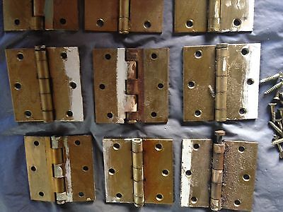 LOT OF 11 BRASS Vintage 50s interior DOOR HINGES  With Screws
