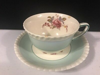 Johnson Brothers Windsor Wear Tea Cup & Saucer Green with Pink Roses