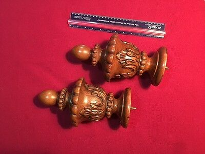 (2) Oversized wooden carved wood finials
