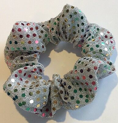 Hair Scrunchie - Silver With Coloured Sequins