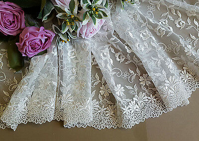 24 cm width Elegant  Ivory White Embroidery Mesh Lace Trim