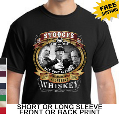 Three Stooges Moonshine Whiskey Knuckleheads Mens Short Or Long Sleeve T Shirt