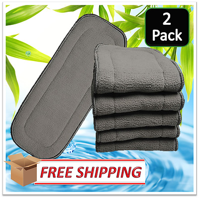2 x SECONDS Charcoal Bamboo Reusable Modern Cloth Nappy Inserts FREE SHIPPPING
