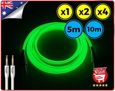 Guitar Cable Glow In The Dark Straight to Straight 6.35mm Lead 5m 10m GLEADGLOW