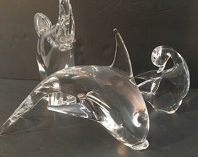 Murano & V. Nason  Italy Glass Duck, signed also Elephant & Dolphin ?  Set of 3