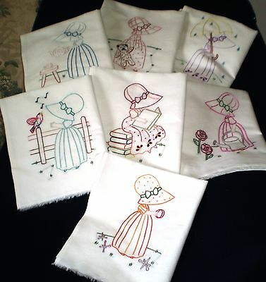 Sunbonnet Sue Girls T-towel set Hand Embroidered 407n