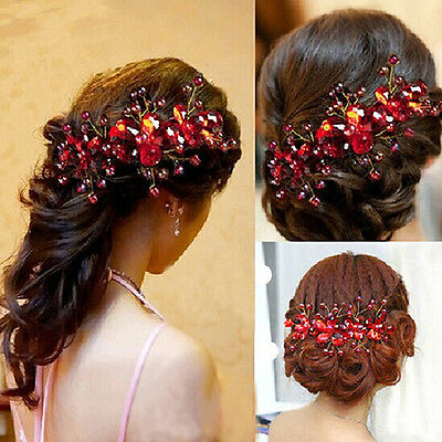 Local Women's Bride's Hair Pin Clip Red Flower Wedding Party Handmade Jewelry La