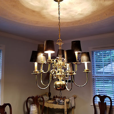 Vintage 1980's Brass Chandelier Hanging Ceiling Light Fixture 9 light