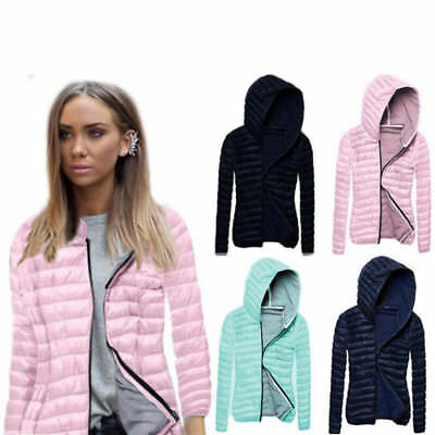 Women Quilted Puffer Bubble Hooded Lightweight Padded Down Jacket Lady Coat NEW