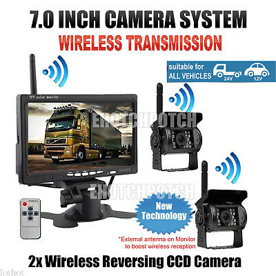 "2x Wireless LED Rear View Backup Camera System+7"" Monitor F Truck RV Car 12-24V"