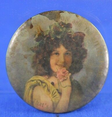 Antique Tin Litho Beautiful Woman With Pink Flowers Tip Tray