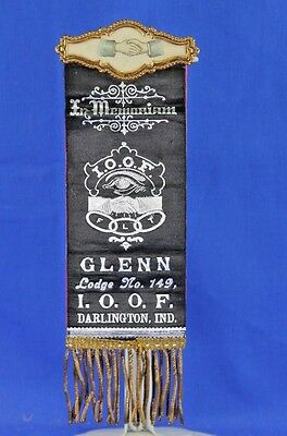 Antique Lodge Ribbon For The Independent Order Of Odd Fellows Indiana