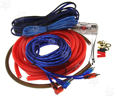 2500W Real Car Amplifier RCA Sound 100A AGU Fuse 4 Gauge Wiring Cable Kit Z07