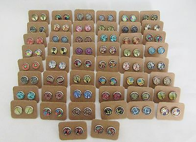 50 Pairs of Cabochon and Glass Dome Earrings - Bulk Lot - Wholesale - Handmade B