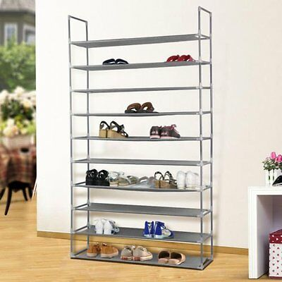 Space Saving 50 Pair Storage Organizer Free Standing 10 Tier Shoe Tower Rack BP
