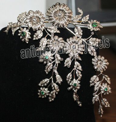10.70ct ROSE CUT DIAMOND EMERALD .925 STERLING SILVER BROOCH PIN