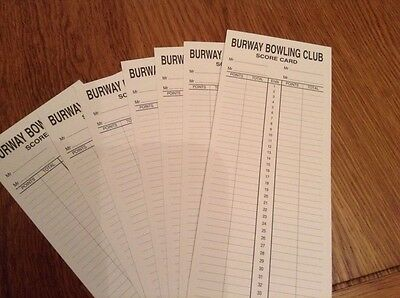 1000 Personalised Bowls Score Cards Double Sided