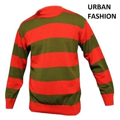 Freddy Krueger Striped Jumper Sweater Red Green Halloween Fancy Dress Costume Uk