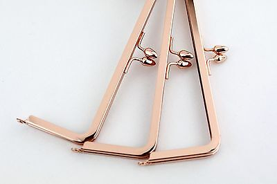 8 x 3 inch - Rose Gold Teardrop Clasp Kisslock Metal Purse Frame - 5 PIECES