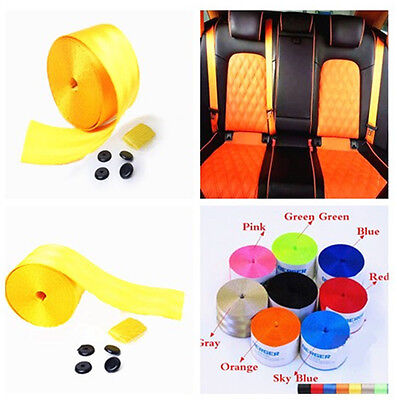 High Quality 380cm Adjustable Yellow 3 Bolt Point Safty Seat Belt For Auto Car