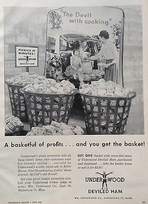 Vintage 1957 Ad (Mc31)~Underwood Deviled Ham Grocery Store Promotion Display