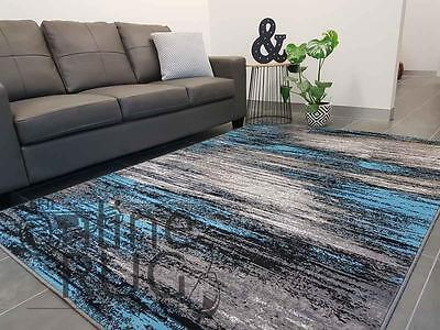Floor Rug Blue Grey Black Abstract Modern Soft Carpet