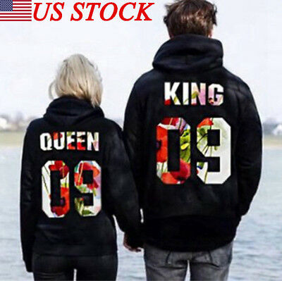 King and Queen Print Couple Hoodie Sweatshirts Pullover Jumper Matching Hoodies