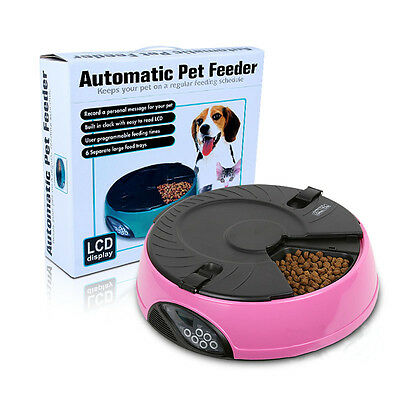 Automatic Pet Feeder 6 Meals Programmable Digital Timer Dog Cat Food Bowl-Pink